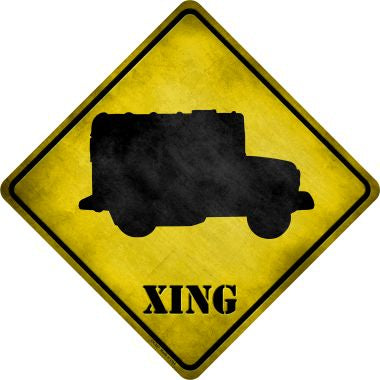 Military Truck Xing Novelty Metal Crossing Sign CX-207