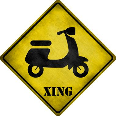 Moped Xing Novelty Metal Crossing Sign CX-212