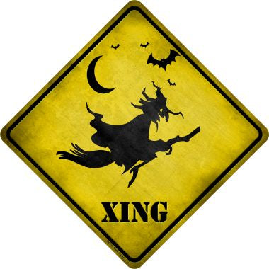 Spooky Witch Xing Novelty Metal Crossing Sign