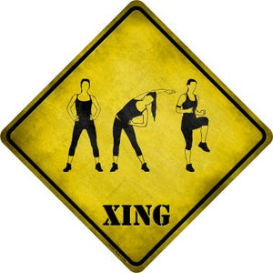 Women Working Out Xing Novelty Metal Crossing Sign CX-225
