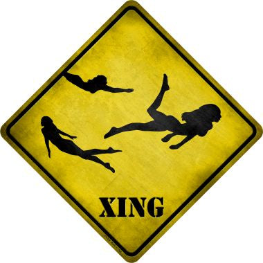 Women Swimming Xing Novelty Metal Crossing Sign CX-232