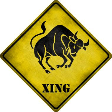 Taurus Zodiac Animal Xing Novelty Metal Crossing Sign