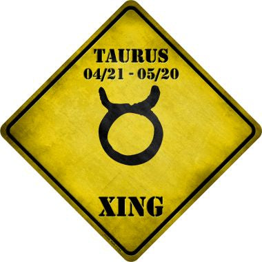 Taurus Zodiac Symbol Xing Novelty Metal Crossing Sign