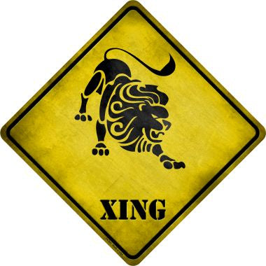 Leo Zodiac Animal Xing Novelty Metal Crossing Sign CX-241