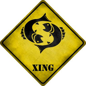 Pisces Zodiac Animal Xing Novelty Metal Crossing Sign CX-255