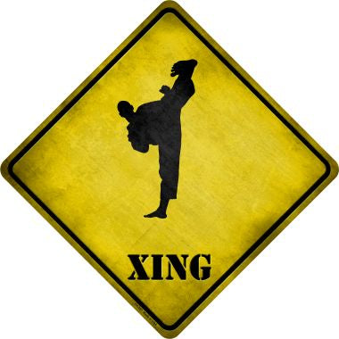 Kung Fu Martial Artist Kicking High Xing Novelty Metal Crossing Sign