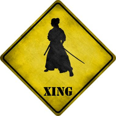 Samurai Standing Alone Xing Novelty Metal Crossing Sign CX-258