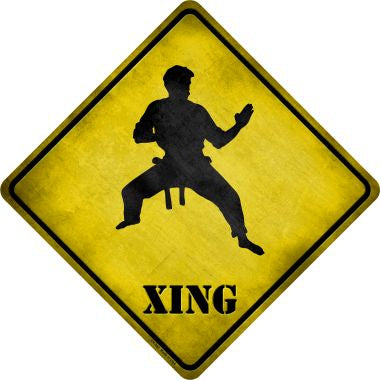 Kung Fu Martial Artist Standing Ready Xing Novelty Metal Crossing Sign
