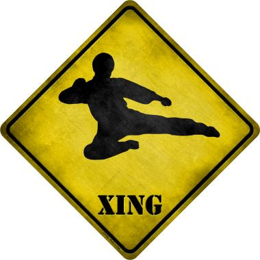 Kung Fu Martial Artist Jump Kicking Xing Novelty Metal Crossing Sign