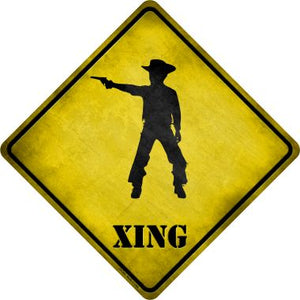 Cowboy With Pistol Xing Novelty Metal Crossing Sign CX-265
