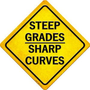 Steep Grades/Sharp Curves Novelty Metal Crossing Sign CX-388