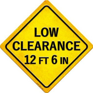 Low Clearance 12ft 6in Novelty Metal Crossing Sign CX-398