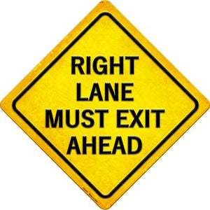 Right Lane Must Exit Ahead Novelty Metal Crossing Sign
