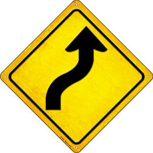 Curve Right Novelty Metal Crossing Sign CX-454
