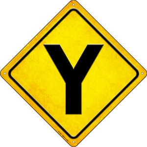 Y Intersection Novelty Metal Crossing Sign CX-458
