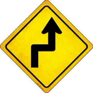 Right Reverse Turn Novelty Metal Crossing Sign CX-462