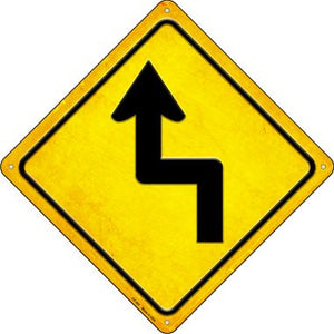 Left Reverse Turn Novelty Metal Crossing Sign CX-463