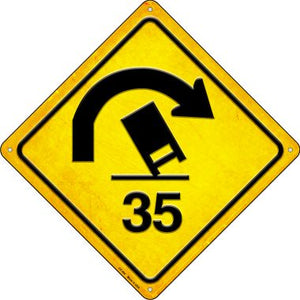 Truck Rollover Warning Novelty Metal Crossing Sign CX-464