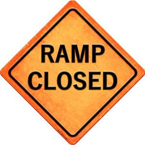 Ramp Closed Novelty Metal Crossing Sign CX-478
