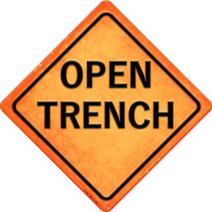 Open Trench Novelty Metal Crossing Sign CX-489