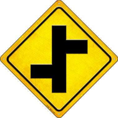 Offset Side Roads Novelty Metal Crossing Sign CX-498