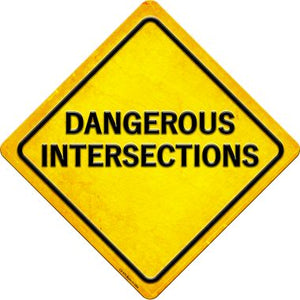 Dangerous Intersections Novelty Metal Crossing Sign CX-579