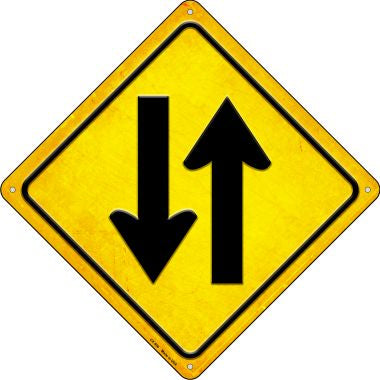 Traffic Both Ways Novelty Metal Crossing Sign CX-590