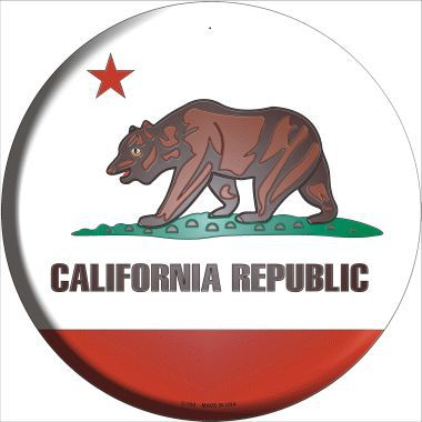 California State Flag Metal Circular Sign