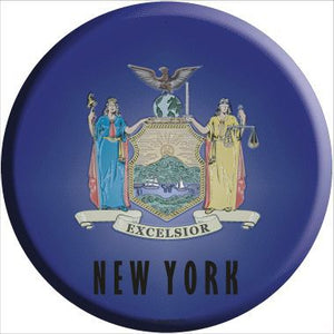 New York State Flag Metal Circular Sign