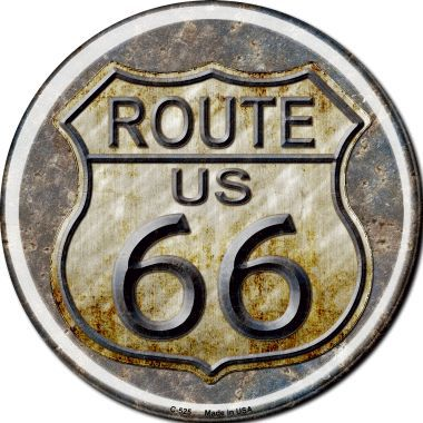 Rusty Route 66 Novelty Metal Circular Sign