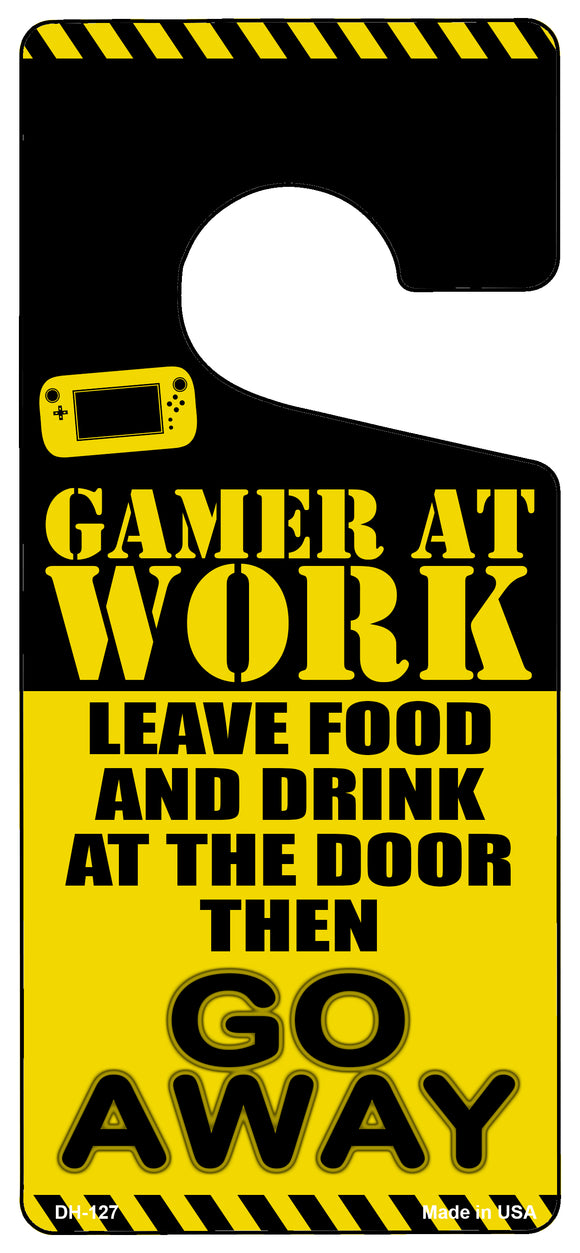 Gamer At Work Go Away Novelty Metal Door Hanger