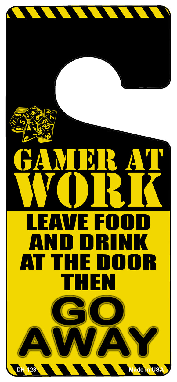Gamer At Work Go Away Dice Novelty Metal Door Hanger