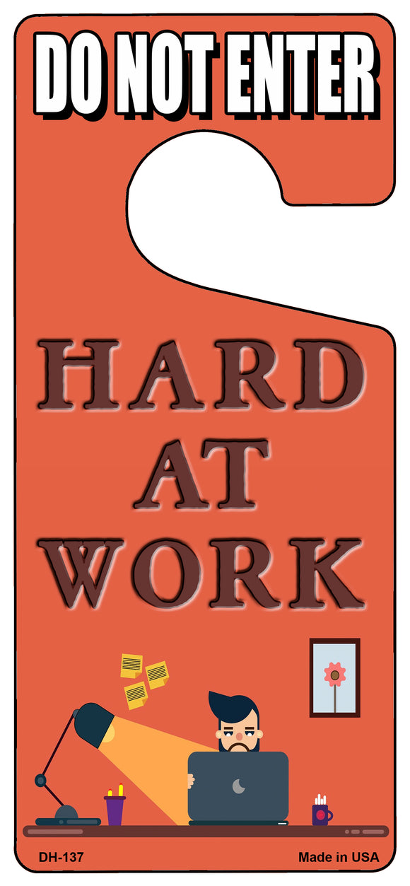 Hard At Work Novelty Metal Door Hanger