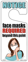 Face Masks Required White Mask Novelty Metal Door Hanger DH-251