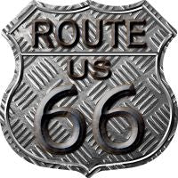 Route 66 Stamped Highway Shield Novelty Metal Magnet HSM-478