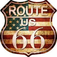 Route 66 American Vintage Design Highway Shield Novelty Metal Magnet