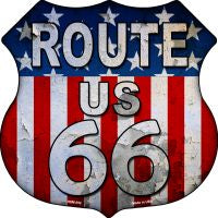 Route 66 American Flag Metal Highway Shield Novelty Metal Magnet HSM-552