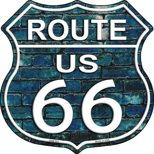 Route 66 Blue Brick Wall Highway Shield Novelty Metal Magnet HSM-553
