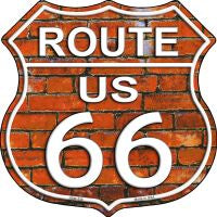 Route 66 Orange Brick Wall Highway Shield Novelty Metal Magnet HSM-558