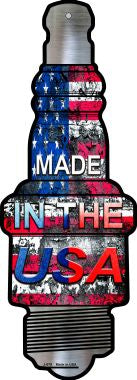 Made In The USA Novelty Metal Spark Plug Sign