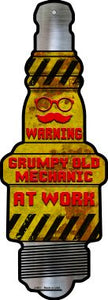 Old Mechanic At Work Novelty Metal Spark Plug Sign J-081