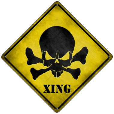 Skull Xing Novelty Mini Metal Crossing Sign MCX-071