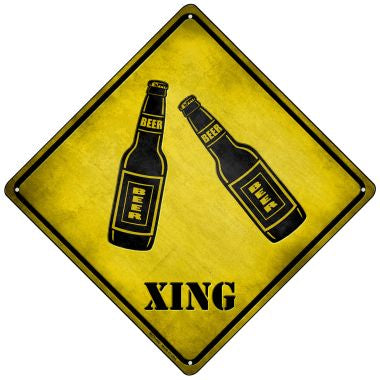 Beer Xing Novelty Mini Metal Crossing Sign MCX-106