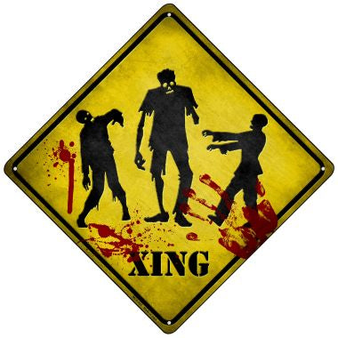 Zombies Xing Novelty Mini Metal Crossing Sign MCX-107