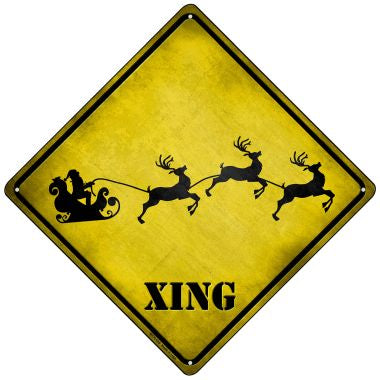 Santa Xing Novelty Mini Metal Crossing Sign MCX-165