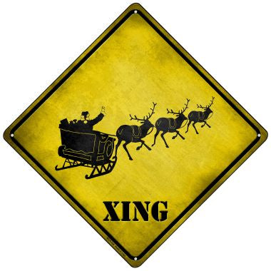 Santa Xing Novelty Mini Metal Crossing Sign MCX-166