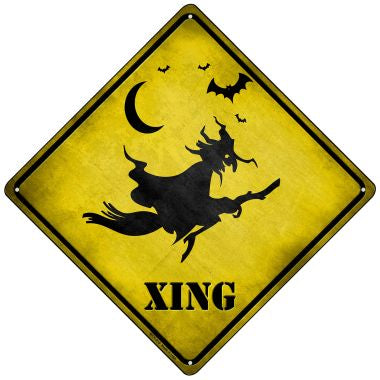 Spooky Witch Xing Novelty Mini Metal Crossing Sign MCX-219