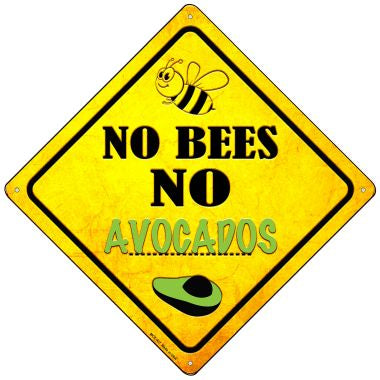 No Bees No Avocados Novelty Mini Metal Crossing Sign MCX-337