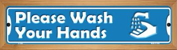 Please Wash Your Hands Novelty Wood Mounted Mini Metal Street Sign WB-K-1420