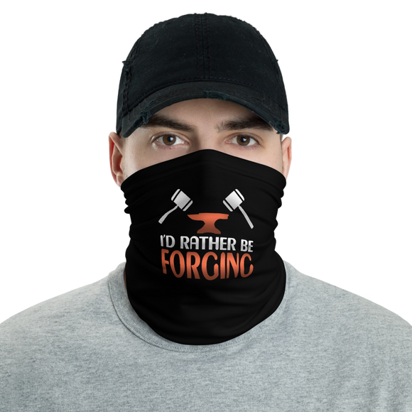Black I'd rather be forging Tube Bandanna Neck Gaiter face mask and neck warmer